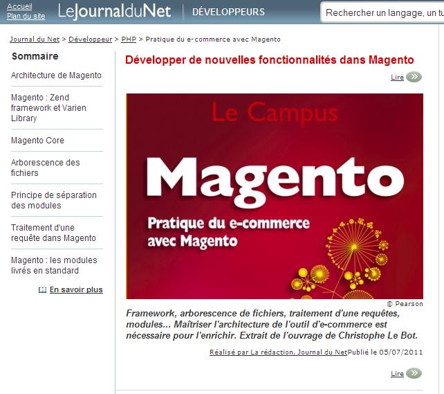 Livre Magento sur le Journal du Net