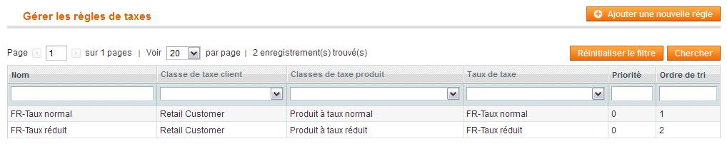 Liste des règles de taxes