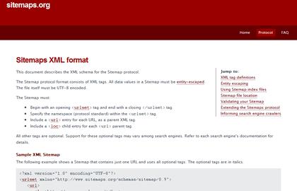 Site officiel Sitemaps.org