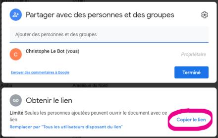 Fenêtre de paramétrage du partage du document Google Sheets.