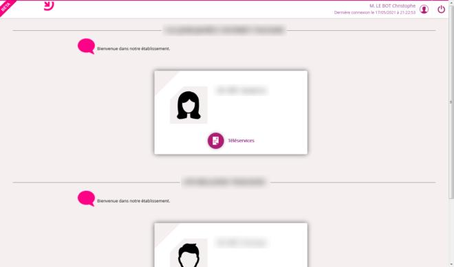 Page d'accès aux téléservices dans EduConnect