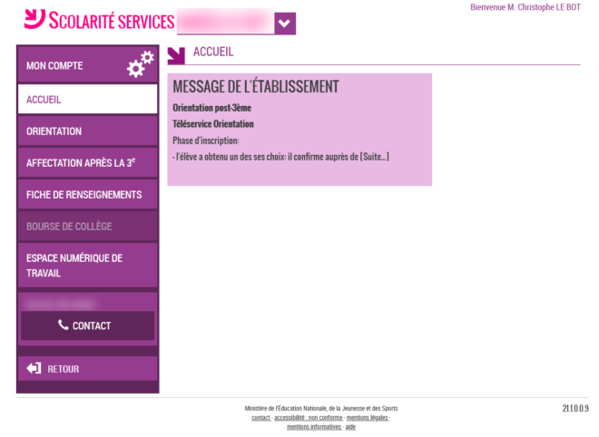 Page d'accueil du site Scolarité Services