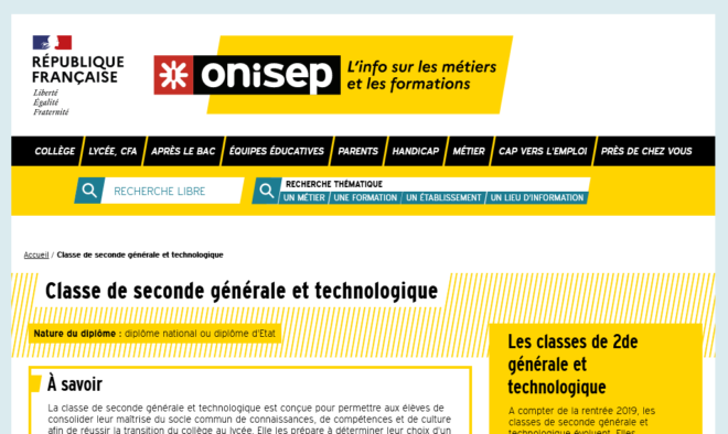 Site web de l'Onisep