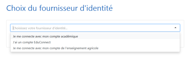 Liste des options du sélecteur de fournisseur d'identité